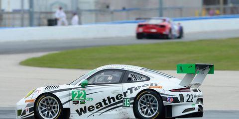 The Porsche, 991 GT3 R, GTD of drivers David MacNeil, Cooper MacNeil, Leh Keen, Shane van Gisbergen, and Gunnar Jeannette.