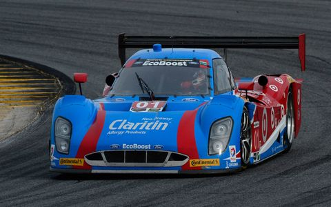 The No. 01, Ford, Riley Daytona Prototype of drivers Lance Stroll, Alex Wurz, Brendon Hartley and Andy Priaulx.