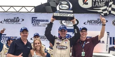 Ross Kenseth, son of NASCAR Sprint Cup winner Matt Kenseth, won his first career ARCA race at Michigan on Friday.