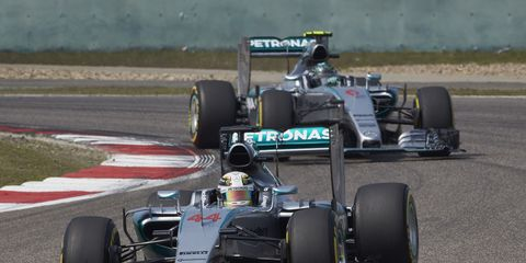 Lewis Hamilton leads Nico Rosberg in China. The two drivers have battled on and off the track for much of the past two seasons.
