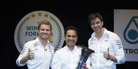 F1 champion Nico Rosberg and  Mercedes boss Toto Wolff visited Mercedes sponsor Petronas in Kuala Lumpur on Tuesday
