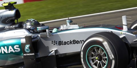 Nico Rosberg's Mercedes suffered a blown tire in Friday's second practice session at Spa.
