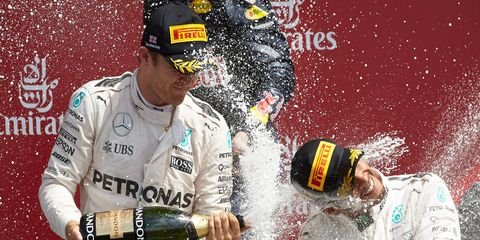 Nico Rosberg, left, leads Mercedes F1 teammate Lewis Hamilton by just one point in the season standings.