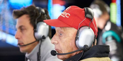 Mercedes Formula One team non-executive chairman Nikki Lauda, foreground, is believed to be on some lists as a possible replacement for Bernie Ecclestone.