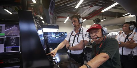 There is reportedly friction between Mercedes boss Toto Wolff (left) and team chairman Niki Lauda.