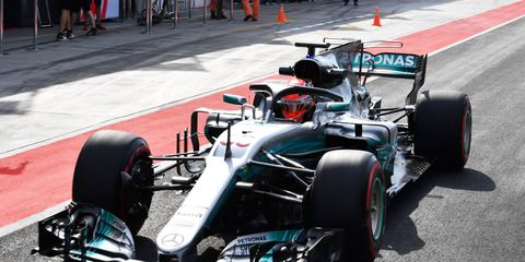 Mercedes reserve driver George Russell tests in Hungary.