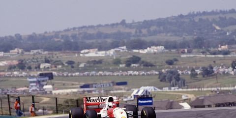 Michael Andretti drives in South Africa during Formula One's last stop there in 1993.