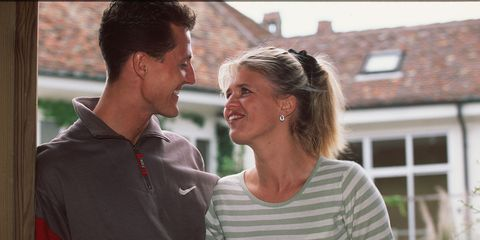 Michael Schumacher with his wife, Corinna, at their home in Switzerland.