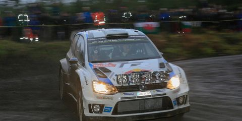 Sebastien Ogier raced to a season-ending win at Rally Great Britain on Sunday.