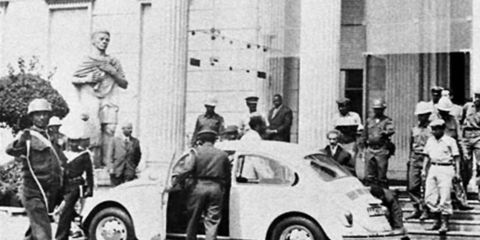 Emperor Haile Selassie deposed in a coup by the Derg, departs the palace in a Volkswagen Beetle
