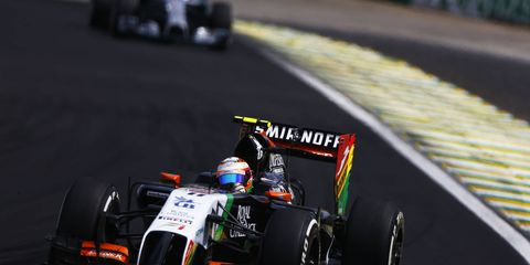 Force India driver Sergio Perez at the Brazilian Grand Prix this past weekend.