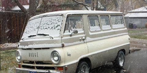1966 Dodge A100 Van in Denver snowstorm
