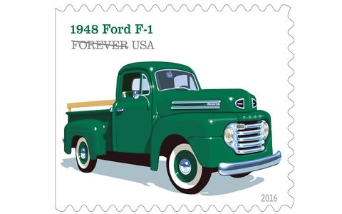 "The 1948 Ford F-1 included features like the roomy ""Million Dollar Cab,"" a sharp horizontal five-bar grille and a six cylinder engine."