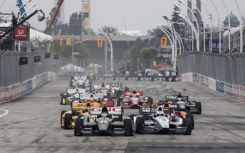 Traffic was heavy at the start of Sunday's first race of the Verizon IndyCar Series doubleheader in Toronto.