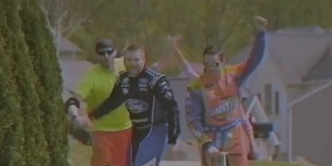 Roush Fenway Racing drivers Ricky Stenhouse Jr. and Chris Buescher nailed it in this throwback ad for Sunny Delight.
