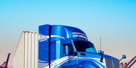 The Toyota fuel cell-powered Kenworth will go 300 miles on a fill-up of hydrogen.