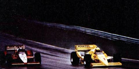 This photo, which shows Rick Mears' car on the right, was actually taken in the middle of the re-started Road America race on Oct. 4, 1986 -- the first attempt didn't last long enough to offer many photo ops.