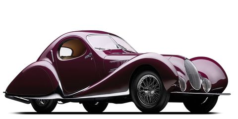 """Feast your eyes on the 1937 Talbot-Lago T150-C SS, Chassis No. 90106 Coupe Aerodynamique """"Goutte d'Eau"""" by Figoni & Falaschi. Heck of a name, hell of a car!"""