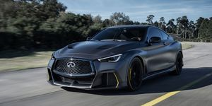 The Project Black S prototype started off as a Q60; many of the exterior upgrades were developed with the assistance of the Renault Sport F1 team, hence the striking black-with-yellow-accents paint scheme.