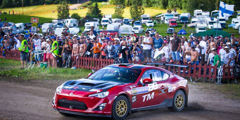 Toyota's GT86 makes an exhibition run at the WRC event in Finland on Friday.