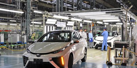 A look at the small shop where just 13 workers assemble the Toyota Mirai fuel cell vehicle.