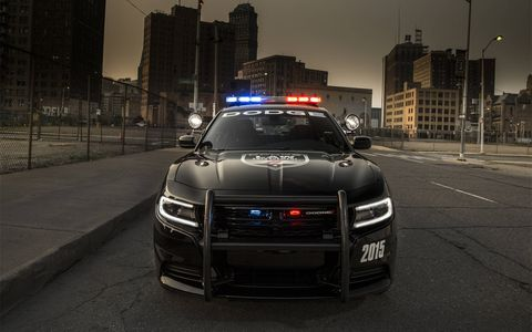 Starting up front, the 2015 Charger Pursuit's new front styling features an all-new crosshair grille, LED turn signals, daytime running lights and new projector-beam headlamps.