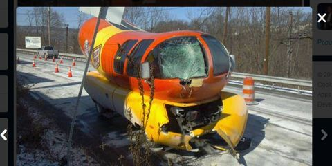 The Oscar Mayer Wienermobile reportedly slipped off the road in Pennsylvania and crashed into a pole.