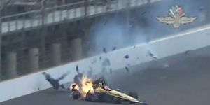 James Hinchcliffe suffered an upper thigh injury that required emergency surgery after a hard crash during practice at the Indianapolis Motor Speedway on Monday.