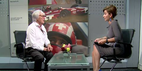 Bernie Ecclestone chats with a Russian TV reporter ahead of the recent F1 Russian GP.