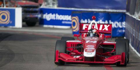 Felix Rosenqvist was an Indy Lights winner at St. Petersburg, Florida.