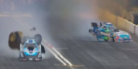 Courtney Force, right, veers toward the wall during a first-round elimination run against Jeff Diehl on Sunday in Seattle.