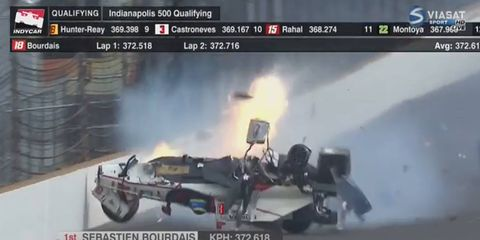 Sebastien Bourdais was transported to a local hospital after crashing hard in Indy 500 practice on Saturday.