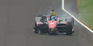 Robert Wickens hit the wall just 20 minutes into the Monday practice section.