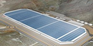 Behold: The solar panel-adorned Tesla Motors gigafactory. Or a rendering of it, at least.