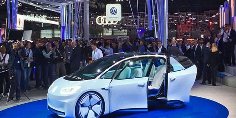 The Volkswagen I.D. concept electric car on the floor of the 2016 Paris motor show.