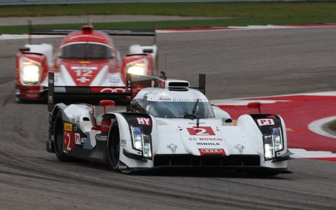 The winning No. 2 Audi R18 e-tron quattro of Andre Lotterer, Benoit Treluyer and Marcel Fassler leads the field at Circuit of the Americas.