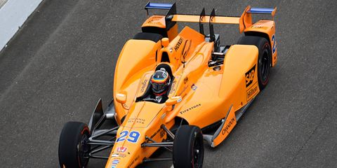 Two-time Formula 1 champion Fernando Alonso turned his first test laps at the Indianapolis Motor Speedway on Wednesday.