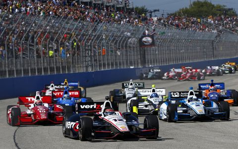 Team Penkse's Will Power roars to victory in Milwaukee on Sunday.