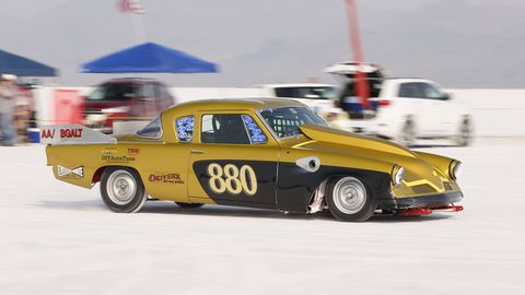 The Driver's Racing 1953 Studebaker leaving the starting line. This car's best speed of the week was 226.733 mph, or about 135 mph faster than a stock '53 Stude.