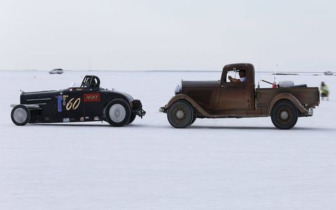 The Fast Four Special 1928 Dodge has a proper push vehicle. This car, with Chrysler flathead four-banger power, set a record of 150.141 mph in the Pre 1935 American Made Four Cylinder, Flathead class.