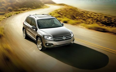 The 2014 Volkswagen Tiguan Bluemotion TDI Euro Spec is equipped with a 2.0-liter turbocharged diesel I4 producing 174 hp and 280 lb-ft of torque.
