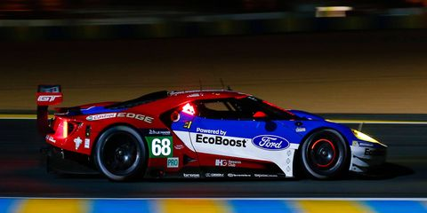 The Ford GT of Dirk Muller, Sebastian Bourdais and Joey Hand was quickest in the first qualifying session of the LMGTE Pro class on Wednesday in France.