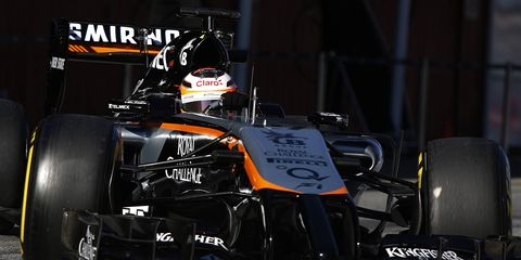 Force India ran its VJM07, shown here, last week at Barcelona. The new car for 2015 will test in Barcelona this week.