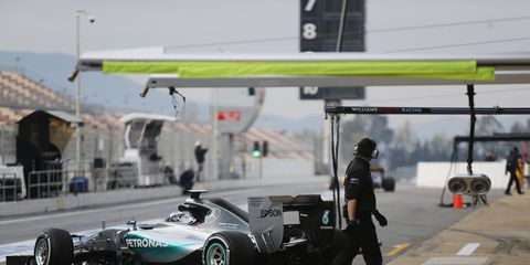 Nico Rosberg pulls out of the garage and onto the pits in Barcelona during the most recent Formula One test. The season kicks off March 15 in Melbourne.