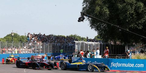The Formula E series it the first major race series to feature all-electric powered cars.