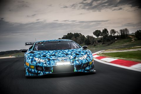 Lamborghini Huracan GT3 Evo On The Vallelunga Circuit Outside of Rome, Italy