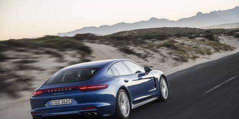 The 2018 Porsche Panamera E-Hybrid in Sapphire Blue Metallic.