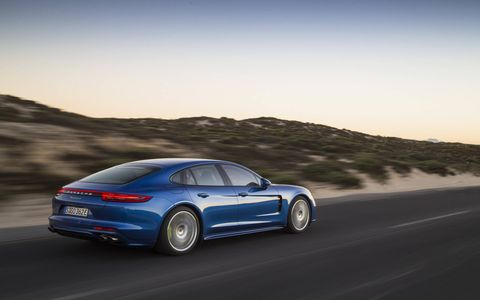 The 2018 Porsche Panamera E-Hybrid in Sapphire Blue Metallic.