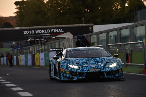 The Lamborghini Huracan GT3 Evo in Action on the Vallelunga Circuit outside of Rome Italy