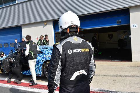 Managing Editor Robin Warner preparing to drive the Lamborghini Huracan GT3 Evo